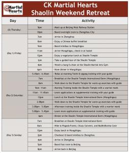 Shaolin Weekend Retreat Itinerary